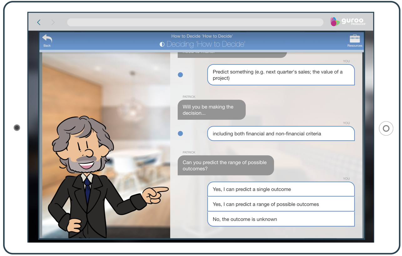 An Example of Guroo Producer's Virtual Coaching Aids.